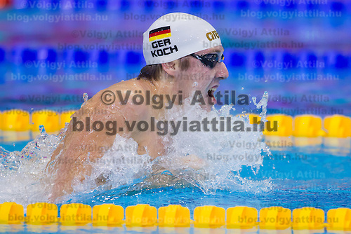 Marco Koch of Germany competes in the Men's 200m Breaststroke semi-final of the 31th European Swimming Championships in Debrecen, Hungary on May 23, 2012. ATTILA VOLGYI