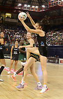 JOHANNESBURG, SOUTH AFRICA - JANUARY 25: Bailey Mes of the Silver Ferns on the attack with Karla Pretorius of the SPAR Proteas defending during the Netball Quad Series netball match between Spar Proteas and Silver Ferns at the Ellis Park Arena in Johannesburg. Mandatory Photo Credit: ©Reg Caldecott/Michael Bradley Photography