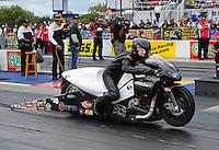 Sept. 18, 2011; Concord, NC, USA: NHRA pro stock motorcycle rider Matt Smith during the O'Reilly Auto Parts Nationals at zMax Dragway. Mandatory Credit: Mark J. Rebilas-