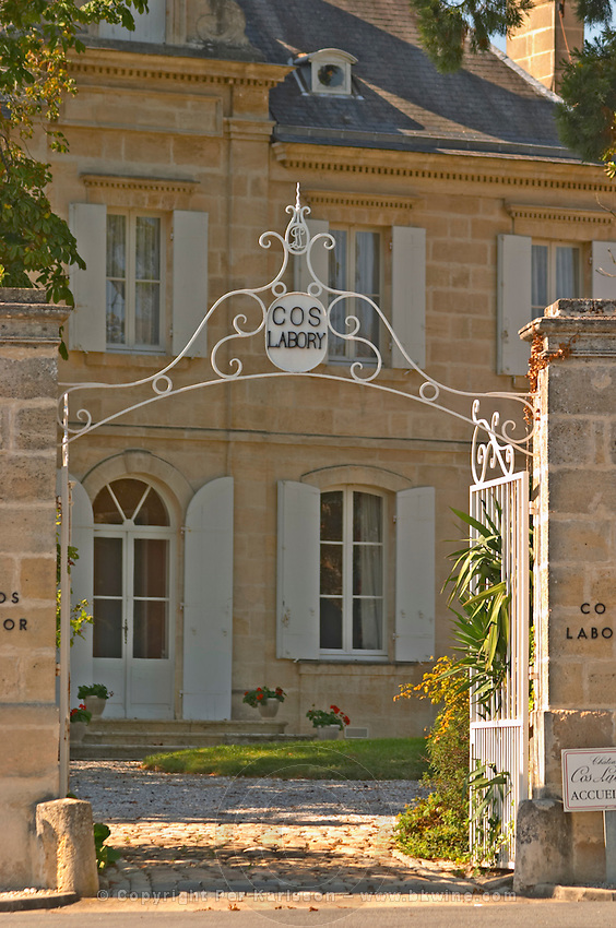 Chateau Cos Labory in Saint St Estephe, wrought iron entrance gate to the park and garden