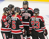 Ainsley MacMillan (NU - 66), Lauren Kelly (NU - 2), Shelby Herrington (NU - 6), Kasidy Anderson (NU - 37), Hayley Masters (NU - 23) - The Boston College Eagles defeated the Northeastern University Huskies 5-1 (EN) in their NCAA Quarterfinal on Saturday, March 12, 2016, at Kelley Rink in Conte Forum in Boston, Massachusetts.
