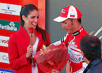Joaquin Purito Rodriguez gives a rose to a flight attendant while celebrating the victory in the stage of La Vuelta 2012 between Vilagarcia de Arousa and Mirador de Erazo (Dumbria).August 30,2012. (ALTERPHOTOS/Acero) /NortePhoto.com<br />