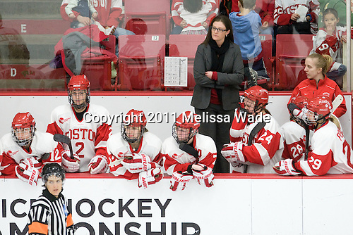 Cristina Wiley (BU - 12), Britt Hergesheimer (BU - 2), Jill Cardella (BU - 22), Lauren Cherewyk (BU - 7), Allison Coomey (BU - Assistant Coach), Taylor Holze (BU - 24), Louise Warren (BU - 28), Marie-Philip Poulin (BU - 29), ? - The Boston University Terriers defeated the visiting Mercyhurst College Lakers 4-2 in their NCAA Quarterfinal matchup on Saturday, March 12, 2011, at Walter Brown Arena in Boston, Massachusetts.