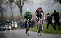 Alex Kirch (LUX/Cult) &amp; Conor Dunne (IRE/AnPost-ChainReaction) leading the race over the Ruidenberg<br /> <br /> Handzame Classic 2015