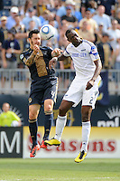 Danny Califf (4) of the Philadelphia Union and Birahim Diop (27) of the Kansas City Wizards go up for a header. The Philadelphia Union and the Kansas City Wizards played to a 1-1 tie during a Major League Soccer (MLS) match at PPL Park in Chester, PA, on September 04, 2010.