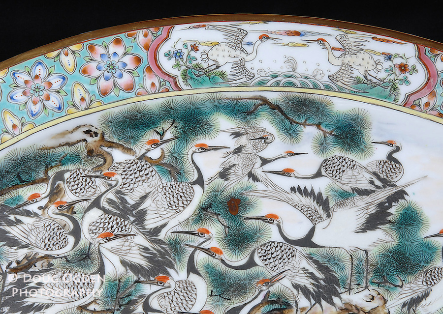 Detail on Asian serving plate.  Images used in Estate valuation and auction program.
