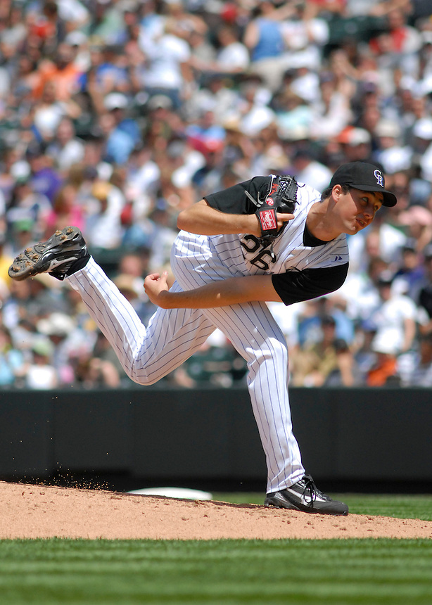 Colorado Rockies pitcher Jeff Francis delivers a pitch against the Minnesota Twins. The Rockies defeated the Twins 6-2 at Coors Field in Denver, Colorado on May 18, 2008.