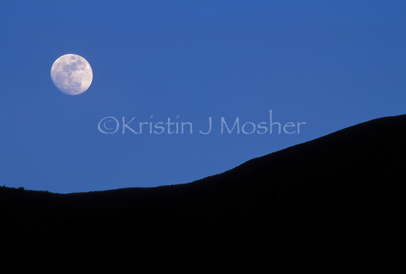 Moon rise over the Great Rift Valley Escarpment.Kakombe Valley.Gombe National Park, Tanzania.