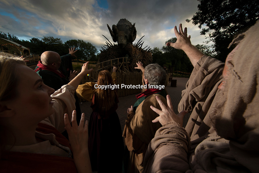08/08/19<br /> <br /> In an attempt to ward-off torrential rain forecast for the next few days, members of the Wicker Man cast, known as the Beornen perform a sun dance at Alton Towers, Staffordshire.<br /> <br /> All Rights Reserved, F Stop Press Ltd +44 (0)7765 242650 www.fstoppress.com rod@fstoppress.com