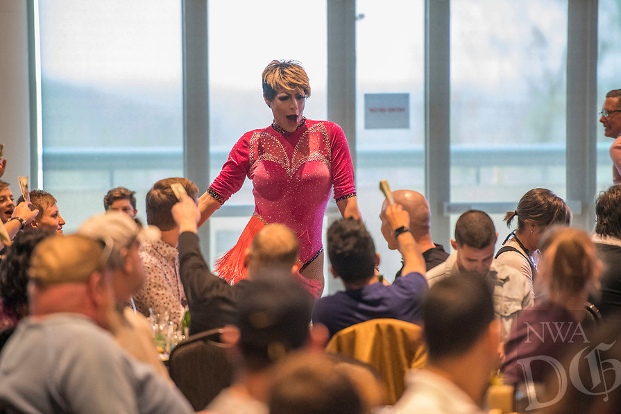 NWA Democrat-Gazette/J.T. WAMPLER Drag performer and Miss Gay Arkansas Chloe Jacobs of Little Rock, entertains guests at the Fayetteville Drag Brunch Sunday April 14, 2019 hosted by Northwest Arkansas Equality, Inc. at the Fayetteville Town Center. All proceeds from the event benefit the operations of Northwest Arkansas Equality, Inc. The next Fayetteville Drag Brunch is on June 9 at the Fayetteville Town Center. For more information visit https://nwaequality.org/