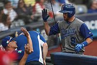 Andrew Butera de Italia celebra carrera en la segunda entrada, durante el partido entre Italia vs Puerto Rico, World Baseball Classic en estadio Charros de Jalisco en Guadalajara, Mexico. Marzo 12, 2017. (AP Photo/Luis Gutierrez)