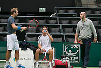09-02-14, Netherlands,Rotterdam,Ahoy, ABNAMROWTT,  Thiemo de Bakker, Igor Sijsling (M) and his coach Melle van Gemerden<br /> Photo:Tennisimages/Henk Koster