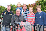 Cathal Dennehy, Gerard OSullivan, Brian Dennehy, Tom Dennehy, Lil Dennehy and John Paul Fleming (all Currow) get in gear at the start of the Duagh Bikers Poker Run in Currow last Saturday..