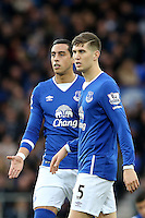 Ramiro Funes Mori and John Stones during the Barclays Premier League match between Everton and Swansea City played at Goodison Park, Liverpool