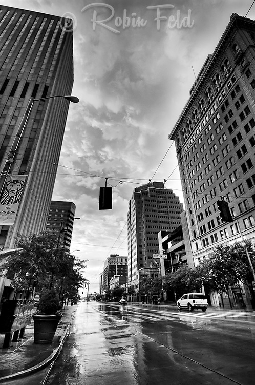 Main Street, Downtown Dayton Ohio on rainy summer evening (black and white)
