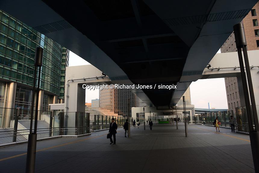 Shiodome business district near Tokyo Bay.  Yurikamome, the monorail runs between Shinbashi and Tokyo bay area.