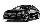 Stock pictures of low aggressive front three quarter view of a 2014 Mercedes Benz CLA Class 45 AMG 4 Door Sedan