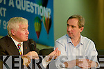 Fergal Quinn and Jerry Kennelly answer questions at the YEP 2011 blue Sky Day at the Brandon Hotel.