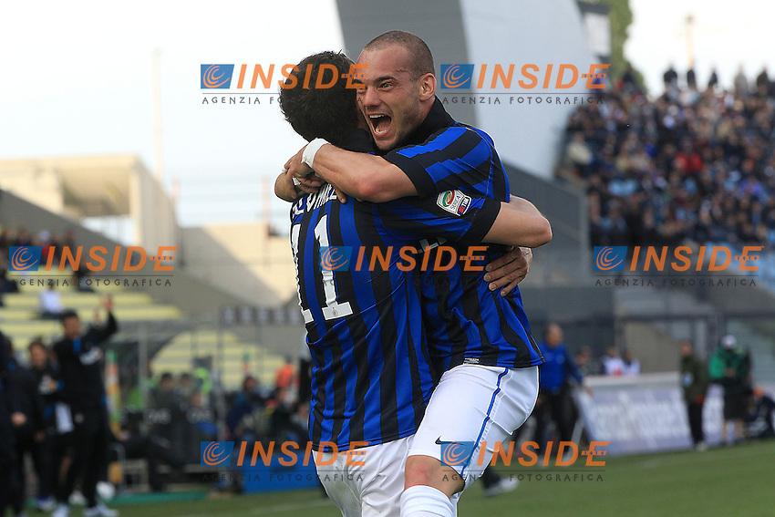 """Esultanza di Wesley Sneijder Inter .Goal celebration.Udine 25/04/2012 Stadio """"Friuli"""".Football / Calcio Serie A 2011/12 Udinese vs Inter.Foto Insidefoto Paolo Nucci."""