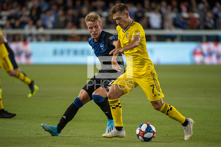 San Jose, CA - Saturday August 03, 2019: Pedro Santos #7 in a Major League Soccer (MLS) match between the San Jose Earthquakes and the Columbus Crew at Avaya Stadium.