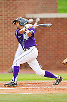 Mike Miedzianowski #2 of the High Point Panthers follows through on his swing against the VMI Keydets at Willard Stadium on March 31, 2012 in High Point, North Carolina.  The Panthers defeated the Keydets 2-0.  (Brian Westerholt/Four Seam Images)
