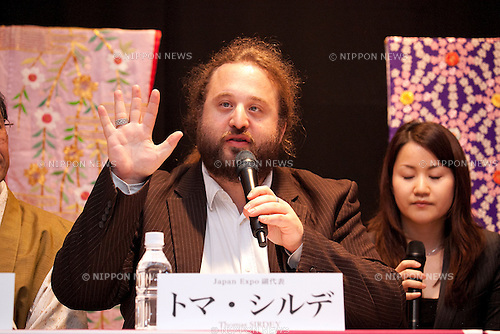 "April 24, 2013, Tokyo, Japan - The represent of Japan EXPO (in France) Thomas Sirdey speaks at ""Kyoto international Manga Anime Fair 2013"" press conference in Kabukiza Tower, Tokyo. In the press conference the organizers of KYOMAF, Mayor of Kyoto and Japan EXPO (in France) signed a document to collaborate together to promote the anime and manga culture in Europe and United States. The KYOMAF is the largest manga/anime fair in West Japan and will be free entrance for elementary school students and foreigners with passport. It will be held from September 6 to 8 at Miyako Messe, Kyoto. (Photo by Rodrigo Reyes Marin/AFLO).."