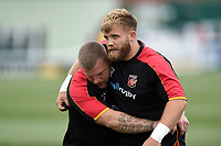 Lloyd Fairbrother and Rhys Lawrence of the Dragons during the pre-match warm-up. Pre-season friendly match, between Ealing Trailfinders and the Dragons on August 11, 2018 at the Trailfinders Sports Ground in London, England. Photo by: Patrick Khachfe / Onside Images