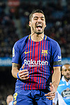 Luis Suarez of FC Barcelona celebrating his score during the La Liga 2017-18 match between FC Barcelona and Deportivo La Coruna at Camp Nou Stadium on 17 December 2017 in Barcelona, Spain. Photo by Vicens Gimenez / Power Sport Images