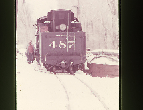 Tender view of D&amp;RGW #487 in snowy Chama.<br /> D&amp;RGW  Chama, NM  <br /> Same as RDS002-011.