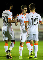 Blackpool's Daniel Philliskirk celebrates scoring his side's first goal with teammates Max Clayton and Nathan Delfouneso<br /> <br /> Photographer Alex Dodd/CameraSport<br /> <br /> EFL Checkatrade Trophy - Northern Section Group B - Accrington Stanley v Blackpool - Tuesday 3rd October 2017 - Crown Ground - Accrington<br />  <br /> World Copyright &copy; 2018 CameraSport. All rights reserved. 43 Linden Ave. Countesthorpe. Leicester. England. LE8 5PG - Tel: +44 (0) 116 277 4147 - admin@camerasport.com - www.camerasport.com