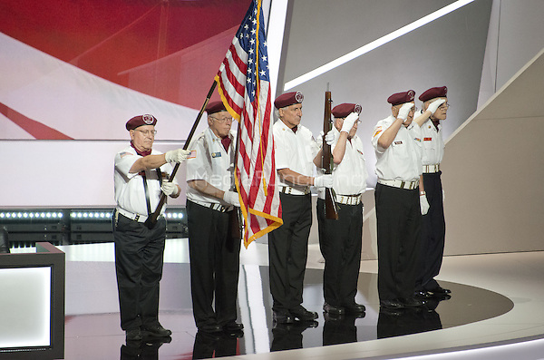 Cuyahoga County Veterans present the colors at the 2016 Republican National Convention held at the Quicken Loans Arena in Cleveland, Ohio on Monday, July 18, 2016.<br /> Credit: Ron Sachs / CNP/MediaPunch<br /> (RESTRICTION: NO New York or New Jersey Newspapers or newspapers within a 75 mile radius of New York City)