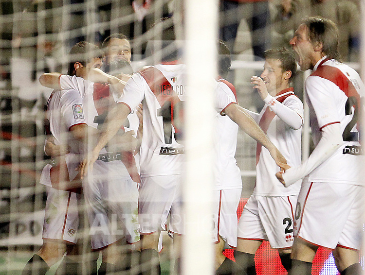 Rayo Vallecano's players celebrate goal during La Liga match.March 17,2012. (ALTERPHOTOS/Acero)