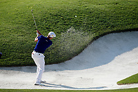 Justin Thomas (USA) hits out of a sand trap on the 16th hole during the second round of the 100th PGA Championship at Bellerive Country Club, St. Louis, Missouri, USA. 8/11/2018.<br /> Picture: Golffile.ie | Brian Spurlock<br /> <br /> All photo usage must carry mandatory copyright credit (© Golffile | Brian Spurlock)