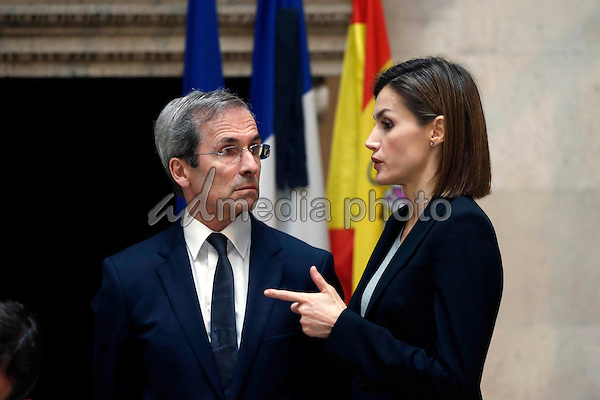 14-11-2015 Madrid King Felipe and Queen Letizia are greeted by the French Ambassador of Spain, Yves Saint-Geours upon their arrival to the French Embassy to sign the book of condolences for the victims of the 13 November Paris attacks, in Madrid, Spain. 128 people have been killed in a series of attacks in Paris on 13 November, according to French officials. Photo Credit: PPE/face to face/AdMedia