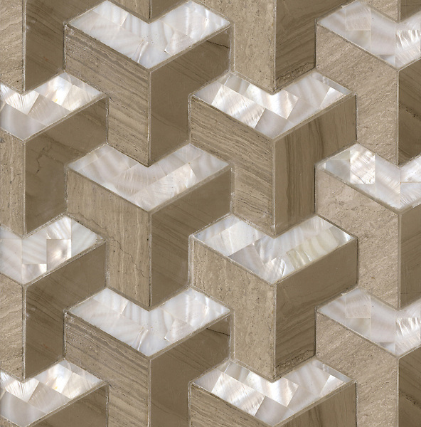 Francois, a waterjet mosaic shown in honed Whitewood, polished Driftwood, and Shell, is part of the Illusions® collection by Sara Baldwin for New Ravenna.