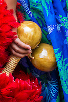 A girl wearing a blue hula skirt holds 'uli'uli (feathered gourd rattles) before a hula performance, Hale'iwa, O'ahu.