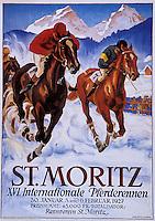 Europe/Suisse/Engadine/St-Moritz: Vieille affiche de la station de sports d'hiver - la course hippique