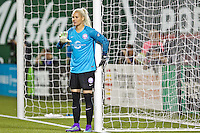 Portland, Oregon - Sunday April 17, 2016: Orlando Pride goalkeeper Ashlyn Harris (1). The Portland Thorns play the Orlando Pride during a regular season NWSL match at Providence Park. The Thorns won 2-1.