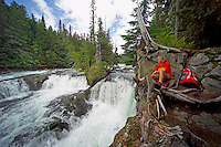 Wells Gray Provincial Park, British Columbia, Canada, August 2006. To get to the McDougall Falls one has to trek from Murtle lake through primary rainforest. Trekking the backcountry of Wells Gray requires expert outdoor skills or a good guide, as one will enter a wilderness area with mountains, lakes and forests. Photo by Frits Meyst/Adventure4ever.com