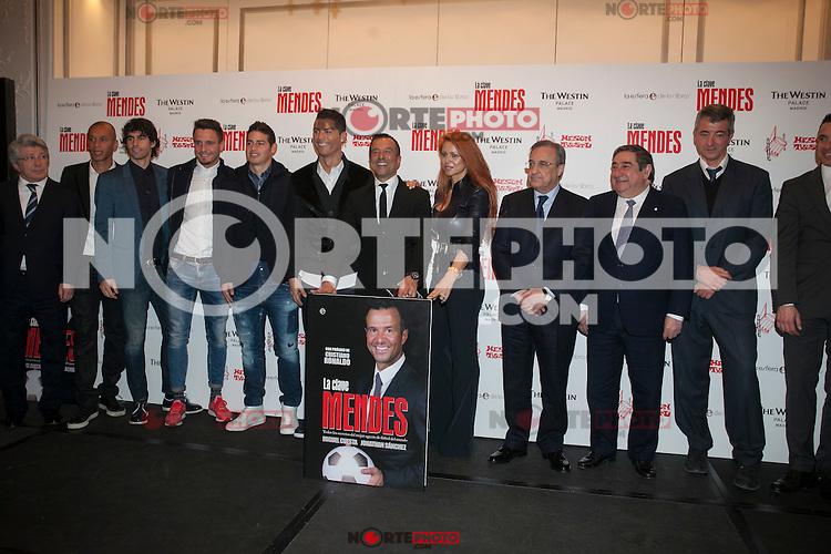 Cristiano Ronaldo,James Rodriguez, Miranda, Thiago and Jorge Mendes during his book presentation in Madrid, Spain. January 22, 2015. (ALTERPHOTOS/Victor Blanco) /NortePhoto<br /> NortePhoto.com