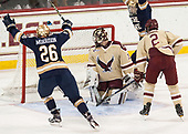 Cam Morrison (Notre Dame - 26) celebrates Oglevie's goal. - The Boston College Eagles defeated the University of Notre Dame Fighting Irish 6-4 (EN) on Saturday, January 28, 2017, at Kelley Rink in Conte Forum in Chestnut Hill, Massachusetts.The Boston College Eagles defeated the University of Notre Dame Fighting Irish 6-4 (EN) on Saturday, January 28, 2017, at Kelley Rink in Conte Forum in Chestnut Hill, Massachusetts.