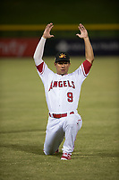 Mesa Solar Sox second baseman Jahmai Jones (9), of the Los Angeles Angels organization, warms up before an Arizona Fall League game against the Scottsdale Scorpions at Sloan Park on October 10, 2018 in Mesa, Arizona. Scottsdale defeated Mesa 10-3. (Zachary Lucy/Four Seam Images)