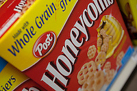 "A Post Honeycomb cereal box is seen in a Metro grocery store in Quebec city March 4, 2009. Selective focus on ""Honeycomb"""