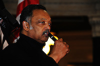 Rev. Jesse Jackson addresses a crowd in the Wisconsin State Capitol in Madison during a protest of Wisconsin Governor Scott Walker's proposed changes to state union laws