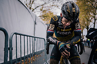 Lars van der Haar (NED/Telenet Fidea Lions) catching his breath post-finish<br /> <br /> men's race<br /> Soudal Jaarmarktcross Niel 2018 (BEL)