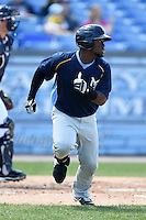Myrtle Beach Pelicans outfielder Odubel Herrera (20) runs to first during a game against the Wilmington Blue Rocks on April 27, 2014 at Frawley Stadium in Wilmington, Delaware.  Myrtle Beach defeated Wilmington 5-2.  (Mike Janes/Four Seam Images)