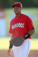 Batavia Muckdogs infielder Jonathan Rodriguez (28) during a game vs. the Mahoning Valley Scrappers at Dwyer Stadium in Batavia, New York June 29, 2010.  Mahoning Valley defeated Batavia 5-4.  Photo By Mike Janes/Four Seam Images