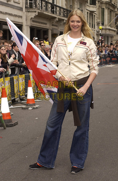 JODIE KIDD.At the Photocall for the Launch of Gumball Rally 3000, Pall Mall, London, England, April 30th 2006..full length cream beige jacket union jack flag.Ref: CAN.www.capitalpictures.com.sales@capitalpictures.com.©Can Nguyen/Capital Pictures