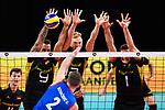13.09.2019, Paleis 12, BrŸssel / Bruessel<br />Volleyball, Europameisterschaft, Deutschland (GER) vs. Serbien (SRB)<br /><br />Angriff Uros Kovacevic (#2 SRB) - Block  / Dreierblock Georg Grozer (#9 GER), Anton Brehme (#12 GER), Christian Fromm (#1 GER)<br /><br />  Foto © nordphoto / Kurth