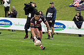 Etene Nanai-Seturo dots down for the Steelers second try. Mitre 10 Cup rugby game between Counties Manukau Steelers and Taranaki Bulls, played at Navigation Homes Stadium, Pukekohe on Saturday August 10th 2019. Taranaki won the game 34 - 29 after leading 29 - 19 at halftime.<br /> Photo by Richard Spranger.